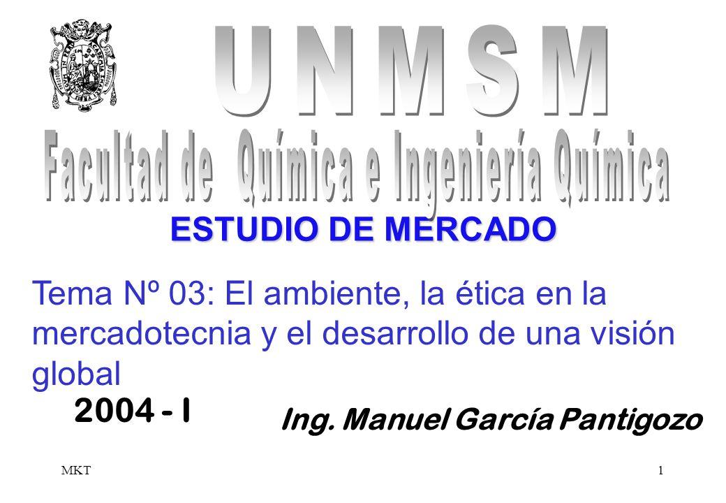 MKT1 Ing. Manuel García Pantigozo 2004 - I ESTUDIO DE MERCADO Tema Nº 03: El ambiente, la ética en la mercadotecnia y el desarrollo de una visión glob