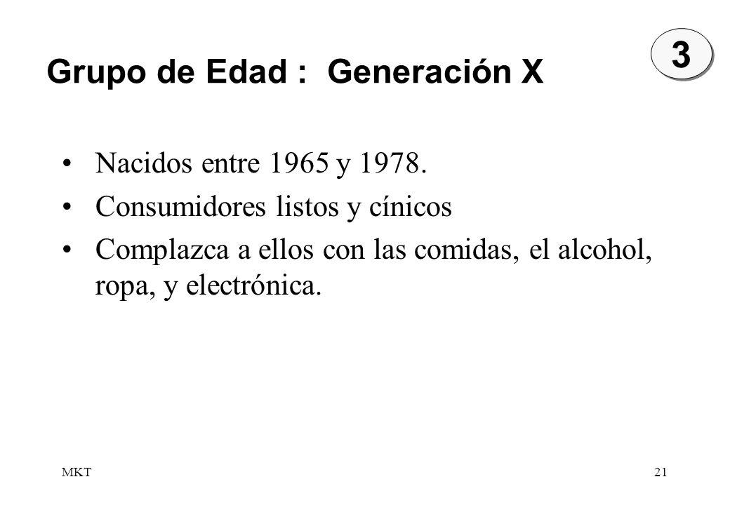 MKT21 3 3 Nacidos entre 1965 y 1978. Consumidores listos y cínicos Complazca a ellos con las comidas, el alcohol, ropa, y electrónica. Grupo de Edad :