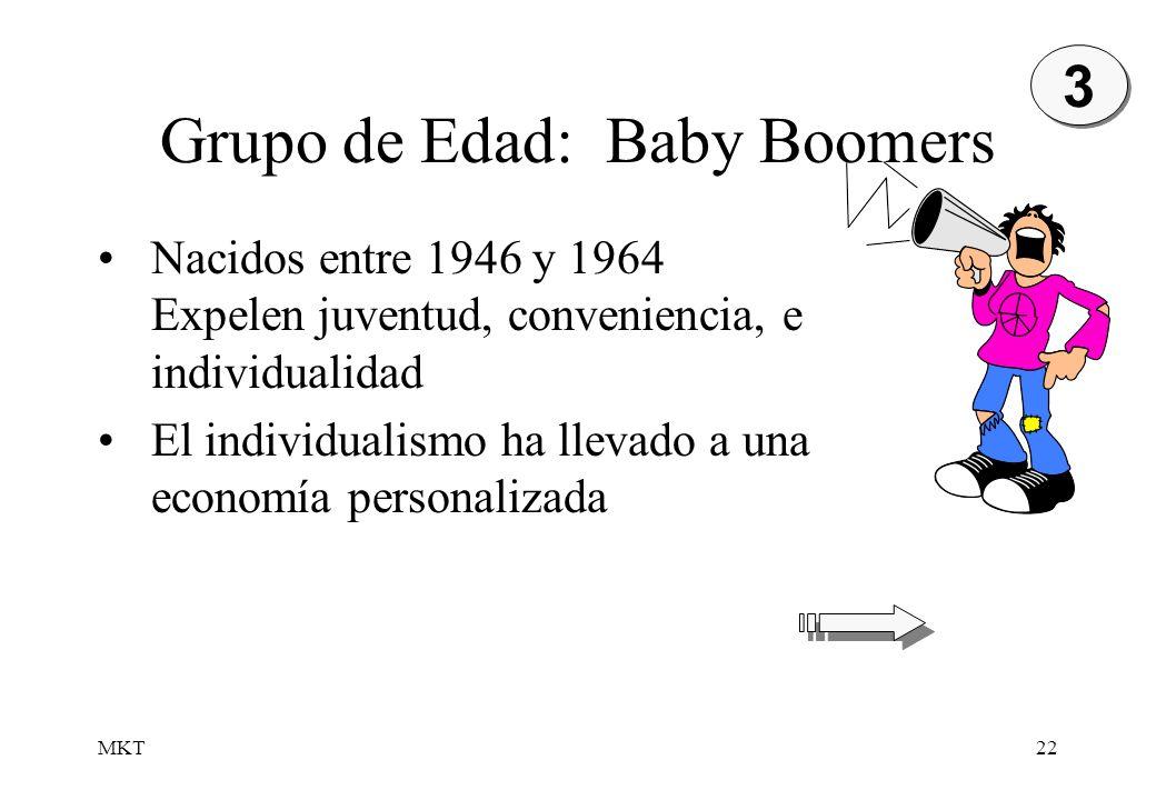 MKT22 Grupo de Edad: Baby Boomers 3 3 Nacidos entre 1946 y 1964 Expelen juventud, conveniencia, e individualidad El individualismo ha llevado a una ec