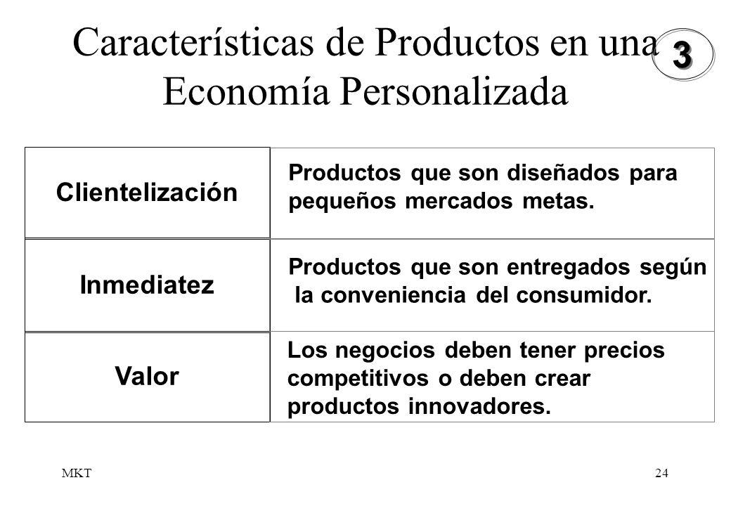 MKT24 Características de Productos en una Economía Personalizada Clientelización Inmediatez Valor Productos que son diseñados para pequeños mercados m