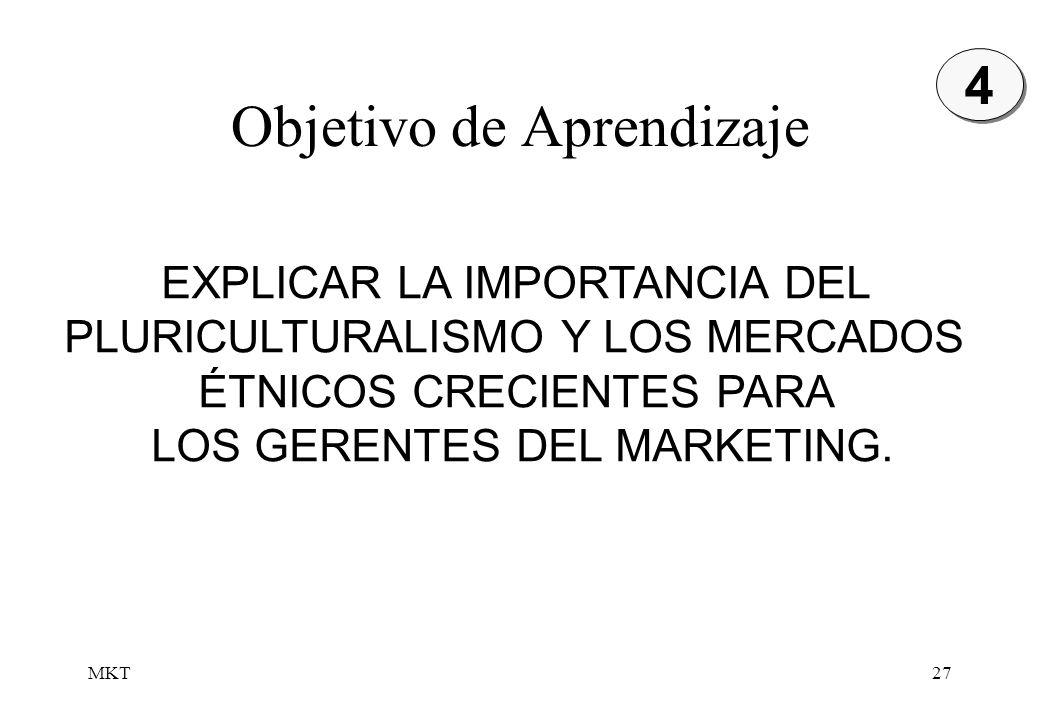 MKT27 Objetivo de Aprendizaje EXPLICAR LA IMPORTANCIA DEL PLURICULTURALISMO Y LOS MERCADOS ÉTNICOS CRECIENTES PARA LOS GERENTES DEL MARKETING. 4 4
