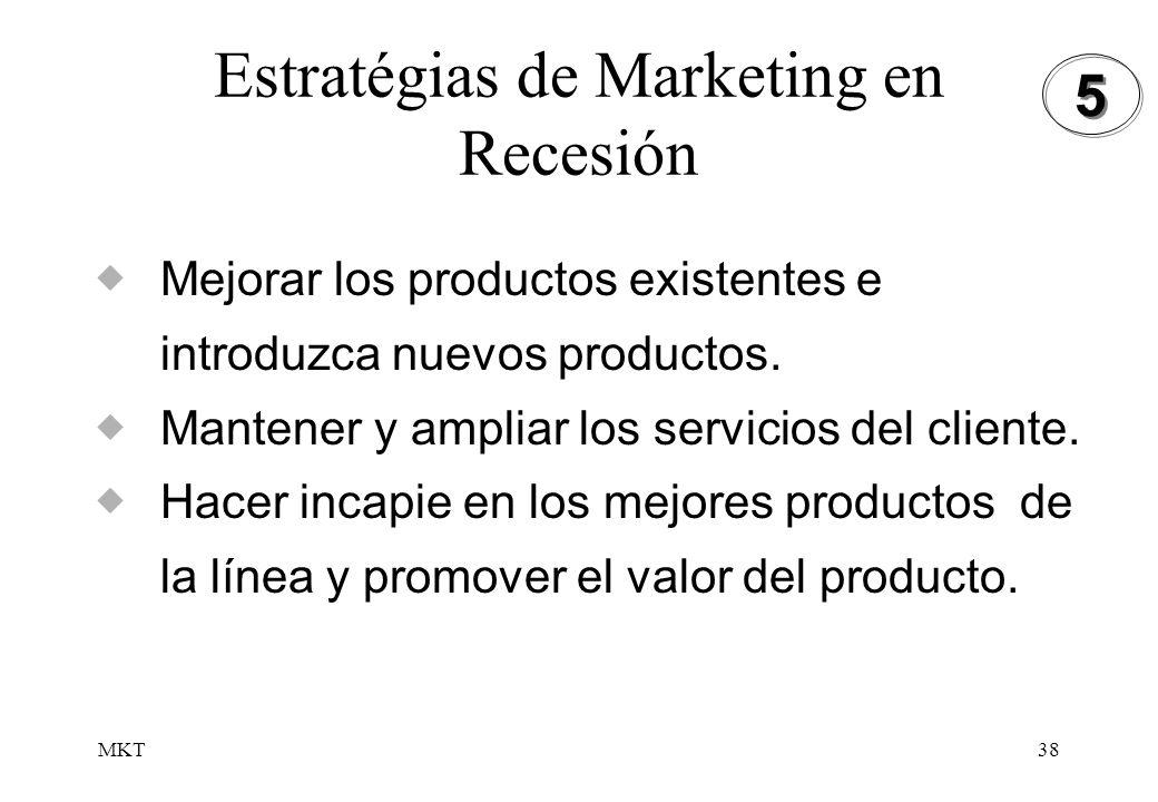 MKT38 Estratégias de Marketing en Recesión Mejorar los productos existentes e introduzca nuevos productos. Mantener y ampliar los servicios del client