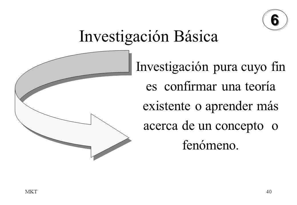 MKT40 Investigación Básica 6 6 Investigación pura cuyo fin es confirmar una teoría existente o aprender más acerca de un concepto o fenómeno.
