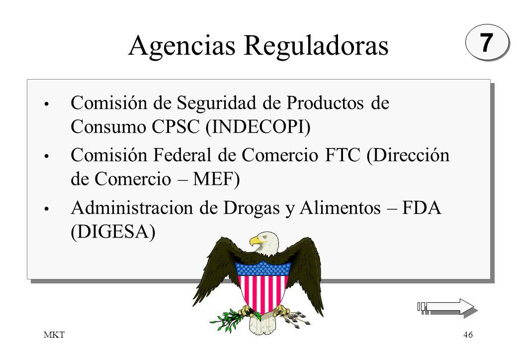 MKT46 Agencias Reguladoras Comisión de Seguridad de Productos de Consumo CPSC (INDECOPI) Comisión Federal de Comercio FTC (Dirección de Comercio – MEF