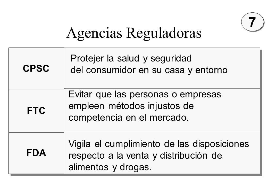 MKT47 Agencias Reguladoras CPSC FTC FDA Protejer la salud y seguridad del consumidor en su casa y entorno Evitar que las personas o empresas empleen m