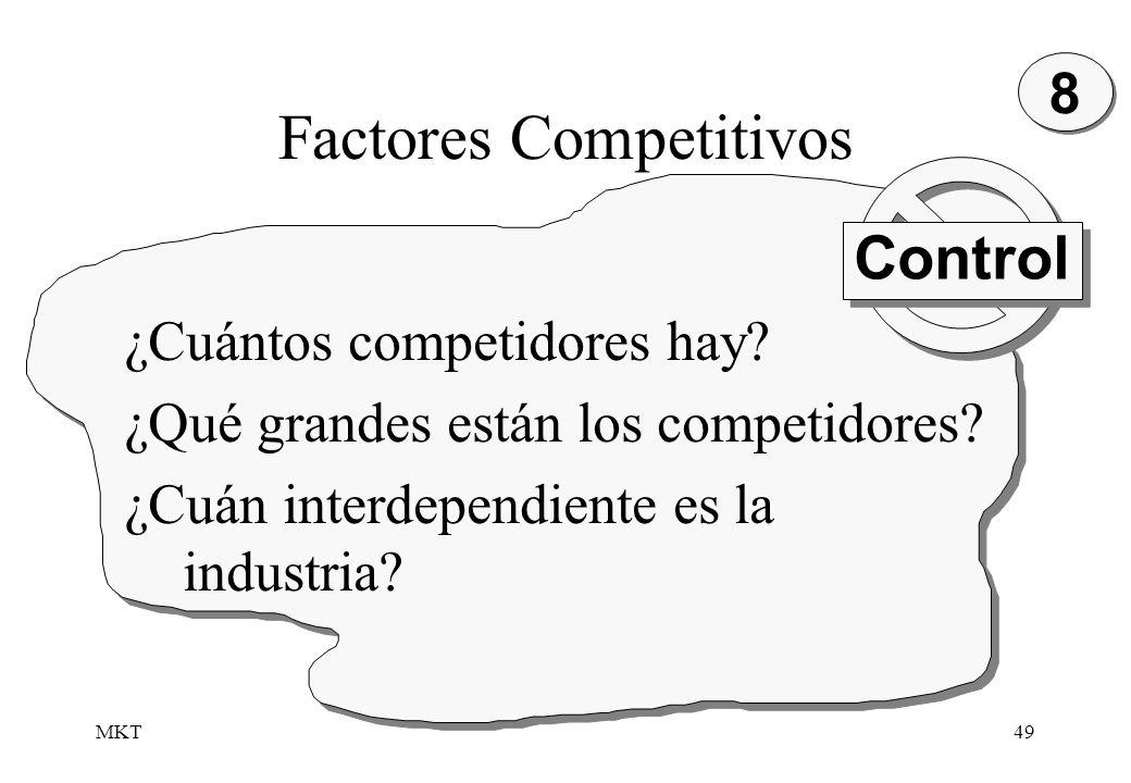 MKT49 Factores Competitivos 8 8 ¿Cuántos competidores hay? ¿Qué grandes están los competidores? ¿Cuán interdependiente es la industria? Control