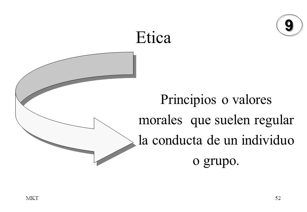 MKT52 Etica Principios o valores morales que suelen regular la conducta de un individuo o grupo. 9 9