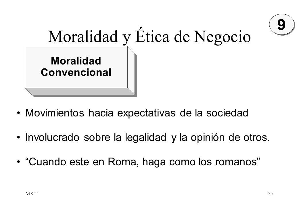 MKT57 Moralidad Convencional Moralidad Convencional Movimientos hacia expectativas de la sociedad Involucrado sobre la legalidad y la opinión de otros