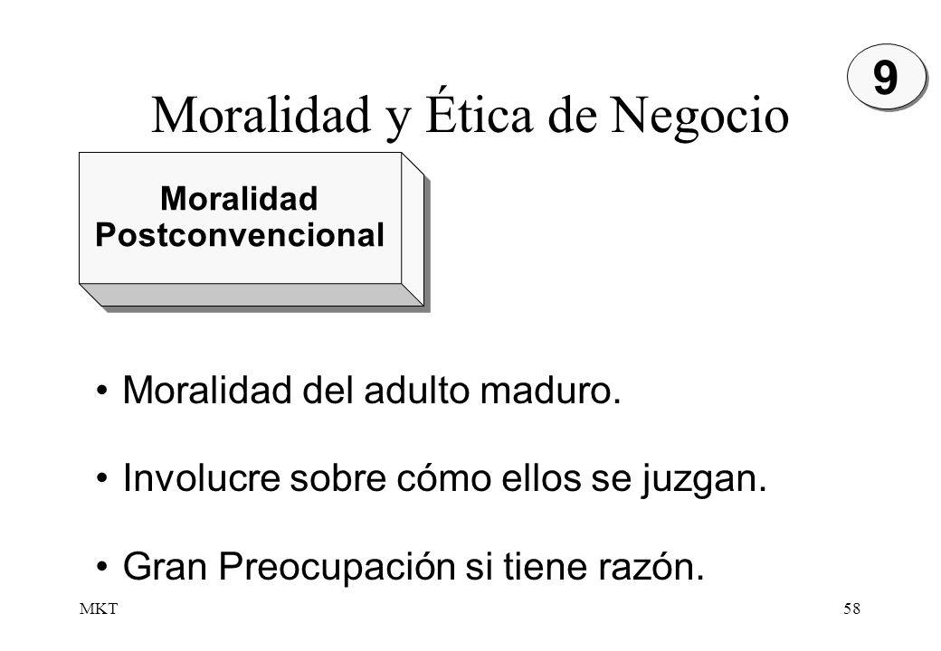 MKT58 Moralidad Postconvencional Moralidad Postconvencional 9 9 Moralidad del adulto maduro. Involucre sobre cómo ellos se juzgan. Gran Preocupación s