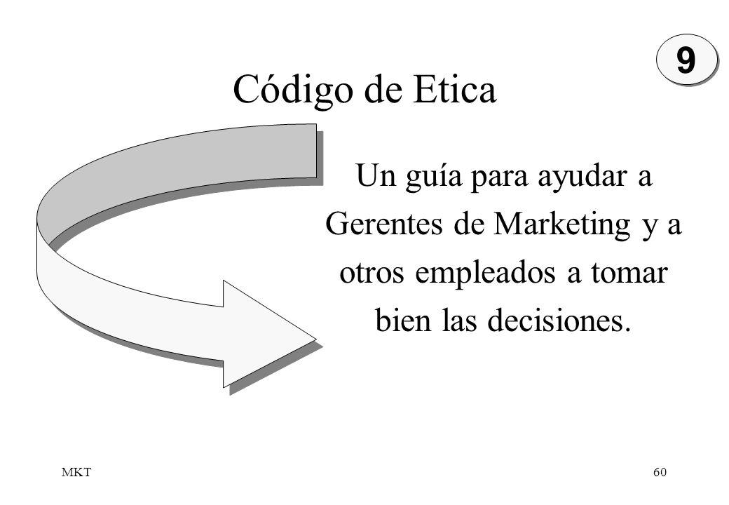 MKT60 Código de Etica Un guía para ayudar a Gerentes de Marketing y a otros empleados a tomar bien las decisiones. 9 9