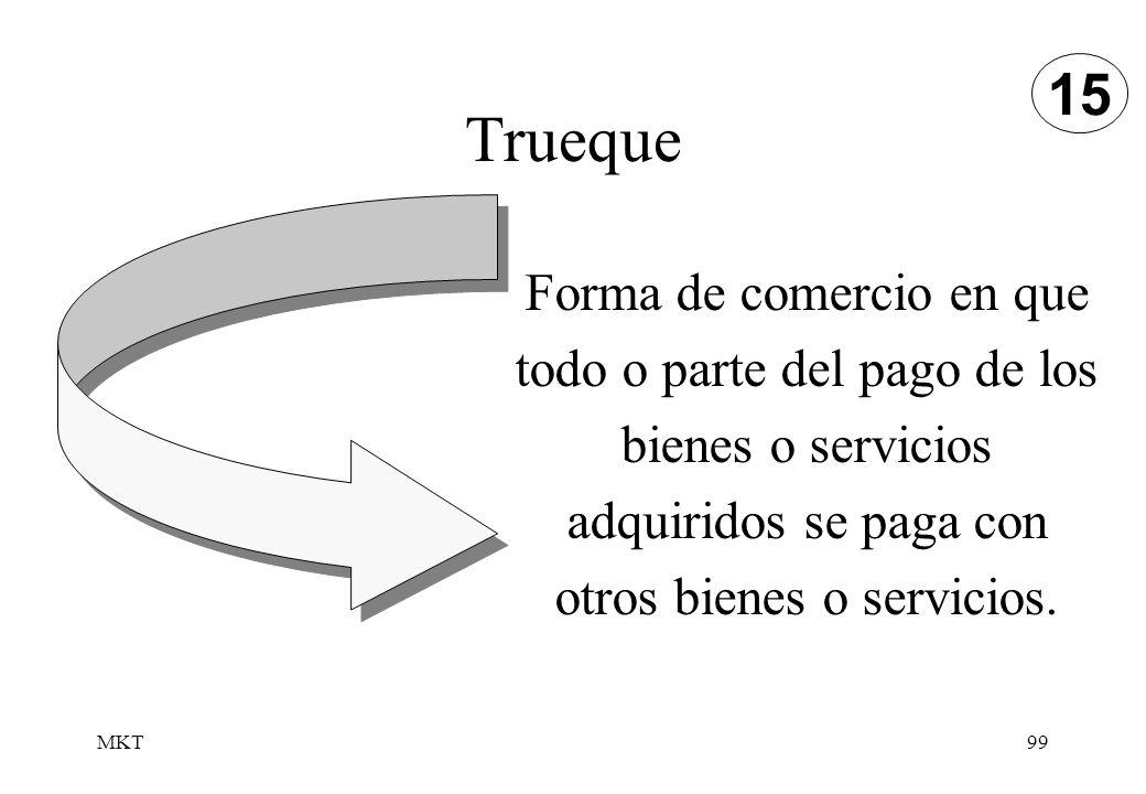 MKT99 Trueque Forma de comercio en que todo o parte del pago de los bienes o servicios adquiridos se paga con otros bienes o servicios. 15