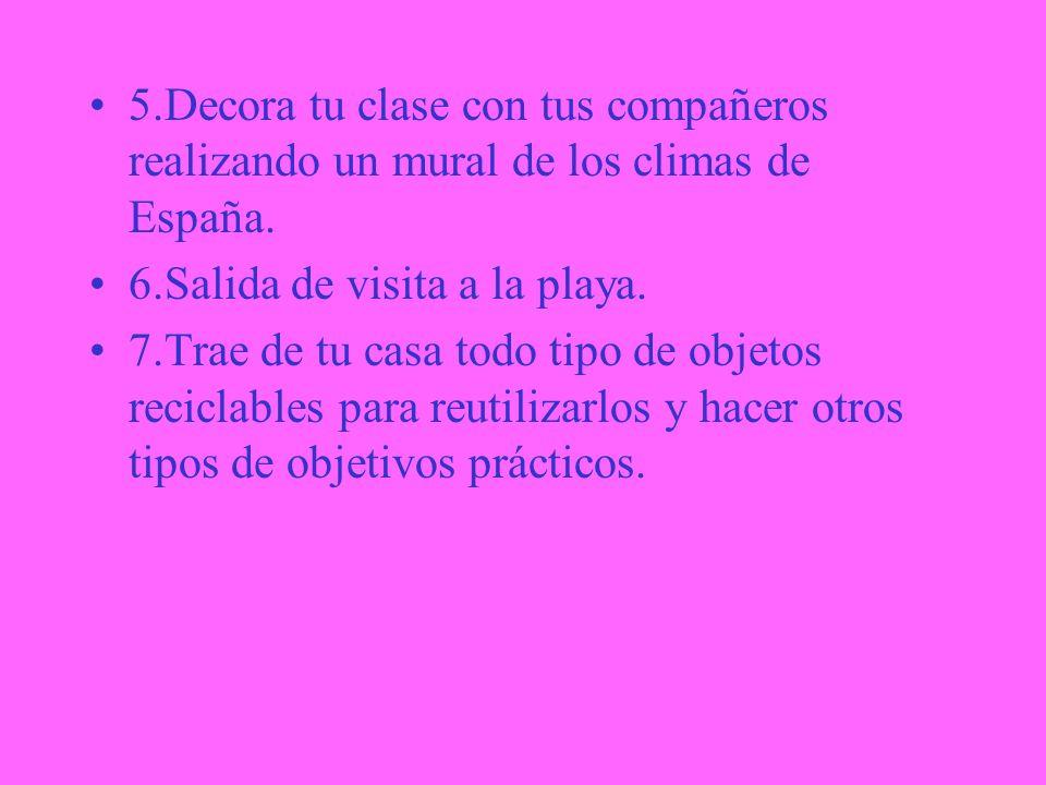 2. B)Di qué clima predomina en tu comunidad y explícalo. 3.Rellena el cuadro comparativo de los diferentes climas de España. 4.Describe el clima de la