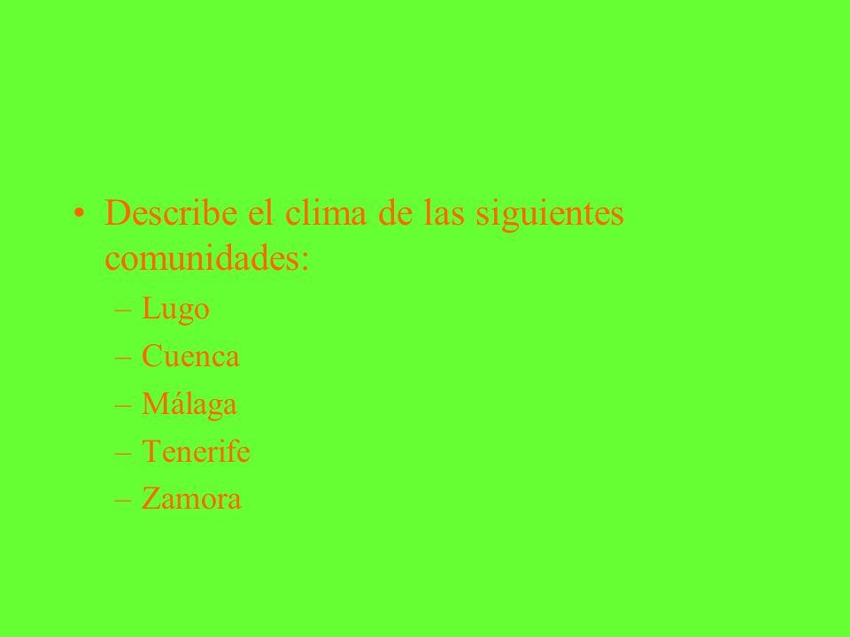 ACTIVIDADES Escribe el significado de: –TIEMPO ATMOSFÉRICO: –CLIMA: