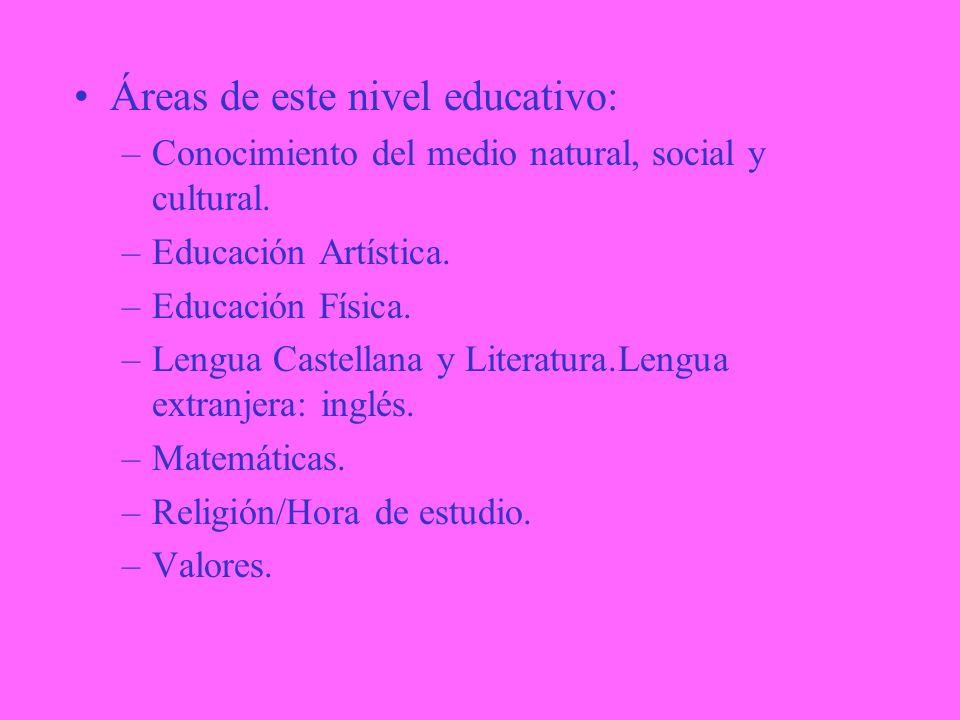 Áreas de este nivel educativo: –Conocimiento del medio natural, social y cultural.