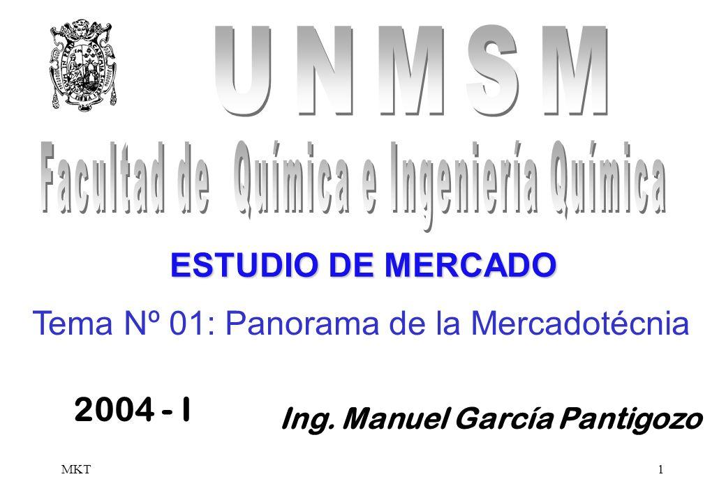 MKT1 Tema Nº 01: Panorama de la Mercadotécnia Ing. Manuel García Pantigozo 2004 - I ESTUDIO DE MERCADO