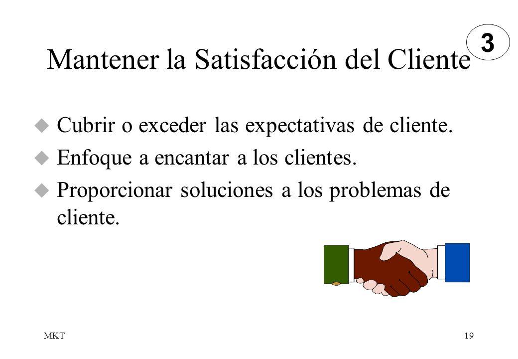 MKT19 Mantener la Satisfacción del Cliente Cubrir o exceder las expectativas de cliente. Enfoque a encantar a los clientes. Proporcionar soluciones a