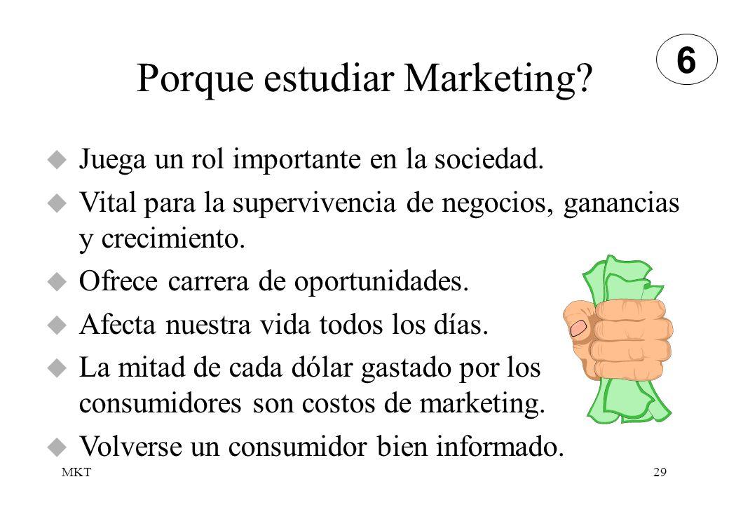 MKT29 Porque estudiar Marketing? Juega un rol importante en la sociedad. Vital para la supervivencia de negocios, ganancias y crecimiento. Ofrece carr