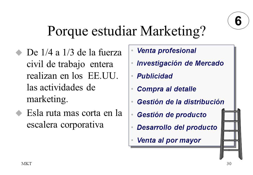 MKT30 De 1/4 a 1/3 de la fuerza civil de trabajo entera realizan en los EE.UU. las actividades de marketing. Esla ruta mas corta en la escalera corpor
