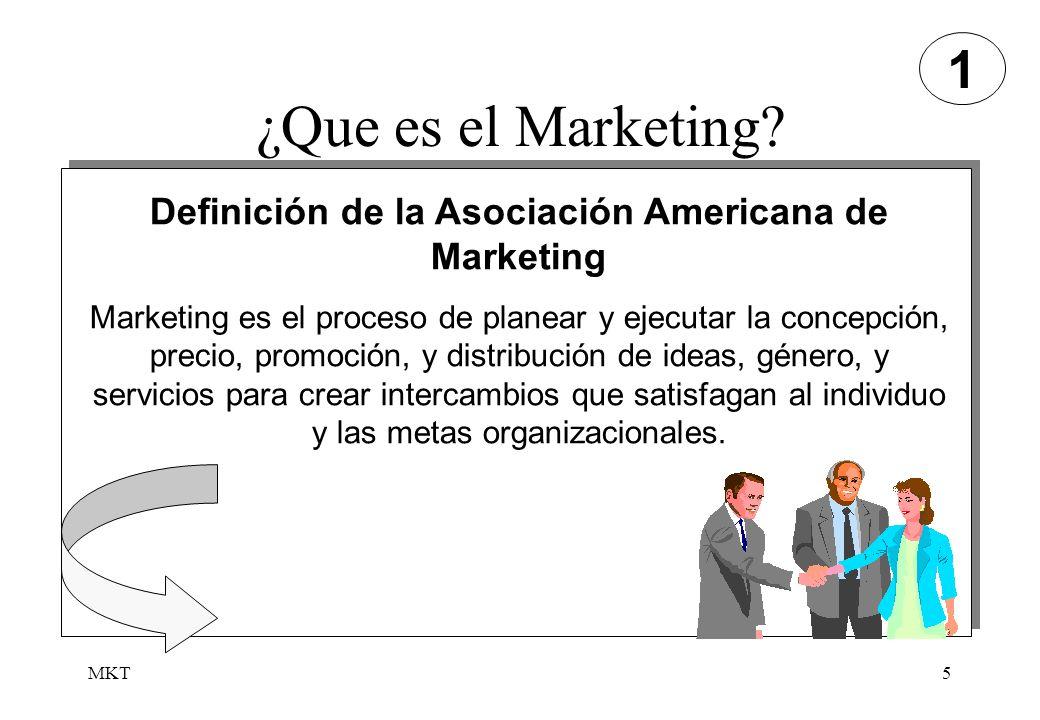 MKT5 ¿Que es el Marketing? Definición de la Asociación Americana de Marketing Marketing es el proceso de planear y ejecutar la concepción, precio, pro