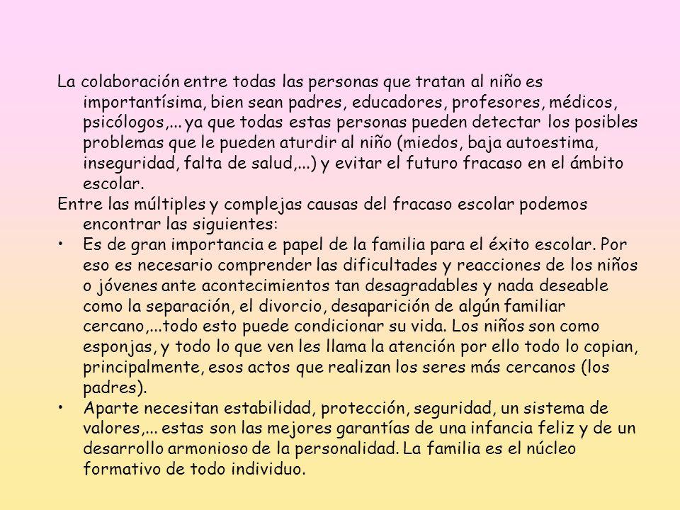 La colaboración entre todas las personas que tratan al niño es importantísima, bien sean padres, educadores, profesores, médicos, psicólogos,... ya qu