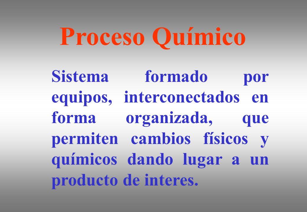 Proceso Químico Sistema formado por equipos, interconectados en forma organizada, que permiten cambios físicos y químicos dando lugar a un producto de