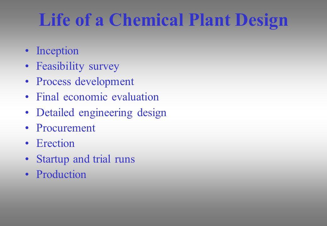 Life of a Chemical Plant Design Inception Feasibility survey Process development Final economic evaluation Detailed engineering design Procurement Ere