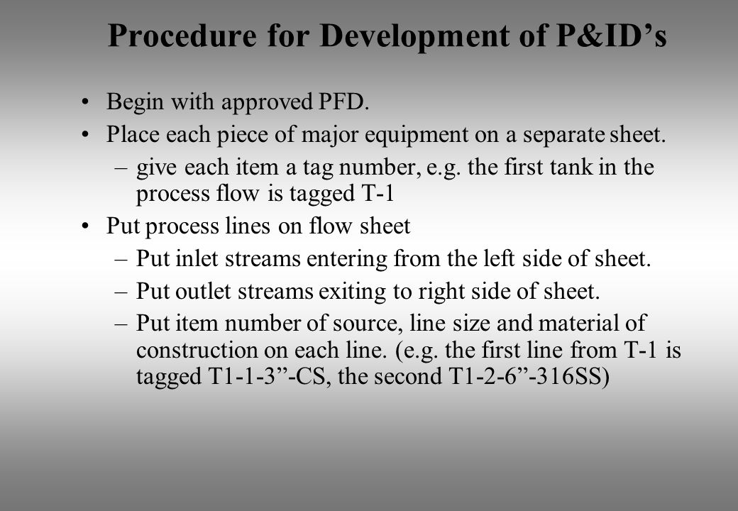 Procedure for Development of P&IDs Begin with approved PFD. Place each piece of major equipment on a separate sheet. –give each item a tag number, e.g