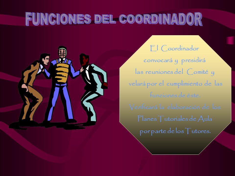 El Coordinador convocará y presidirá las reuniones del Comité y velará por el cumplimiento de las funciones de éste.