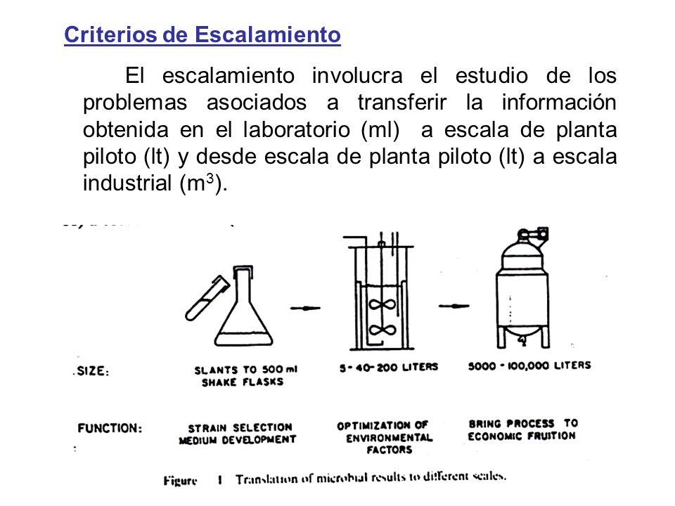 Criterios de Escalamiento El escalamiento involucra el estudio de los problemas asociados a transferir la información obtenida en el laboratorio (ml)