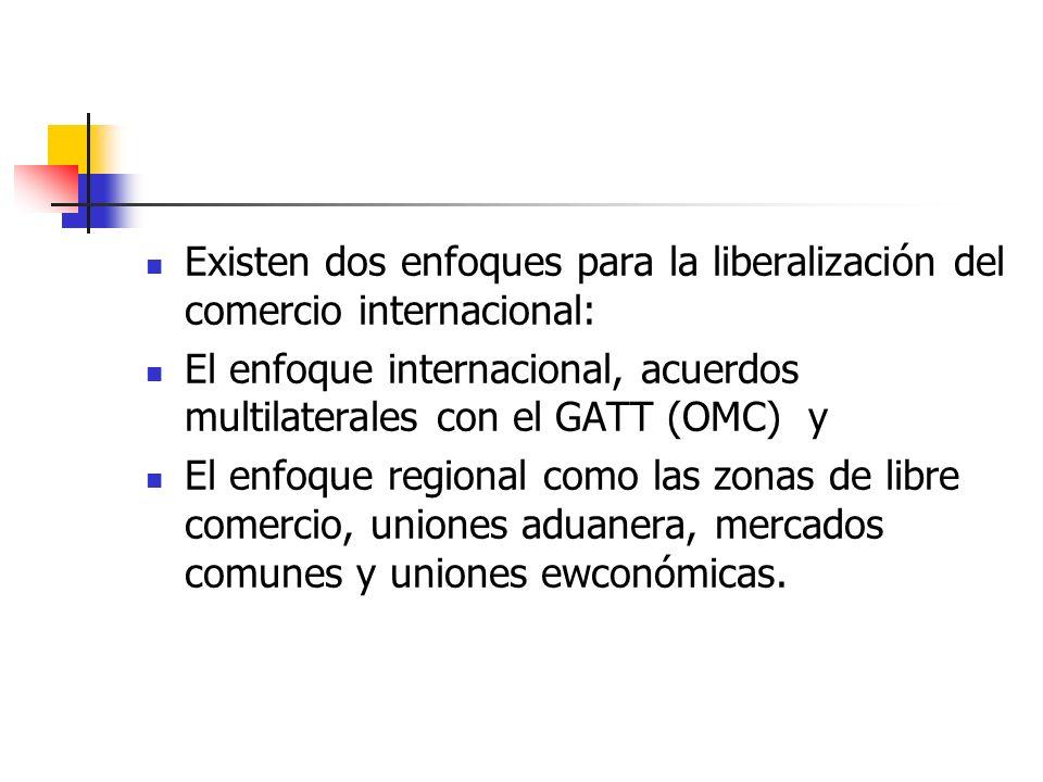 Existen dos enfoques para la liberalización del comercio internacional: El enfoque internacional, acuerdos multilaterales con el GATT (OMC) y El enfoq