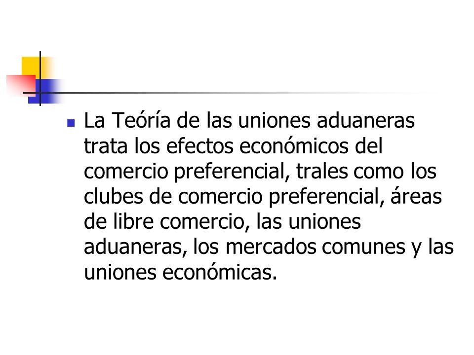 La Teóría de las uniones aduaneras trata los efectos económicos del comercio preferencial, trales como los clubes de comercio preferencial, áreas de l