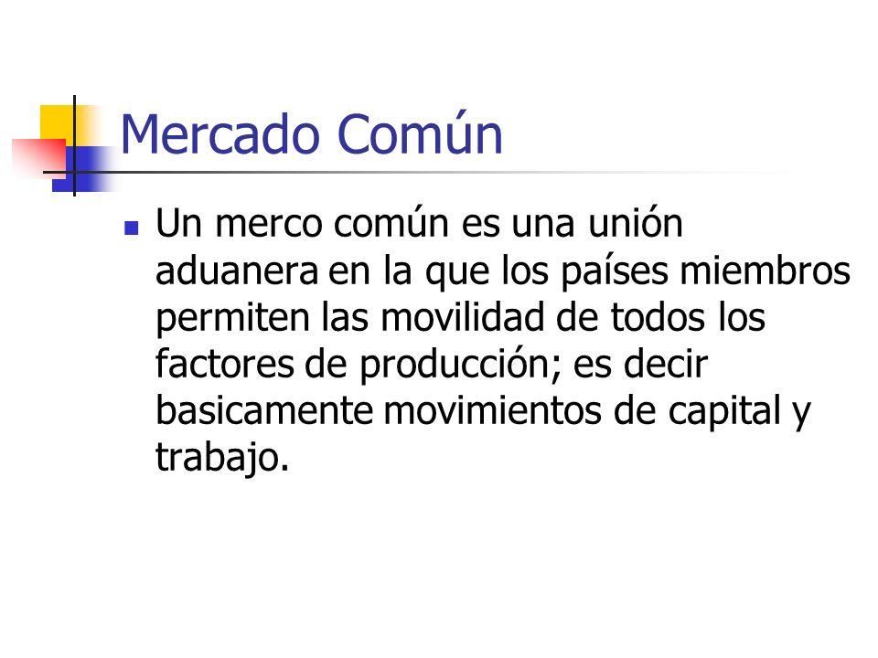Mercado Común Un merco común es una unión aduanera en la que los países miembros permiten las movilidad de todos los factores de producción; es decir