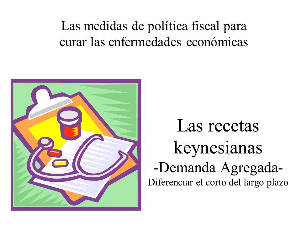 Las recetas keynesianas -Demanda Agregada- Diferenciar el corto del largo plazo Las medidas de política fiscal para curar las enfermedades económicas