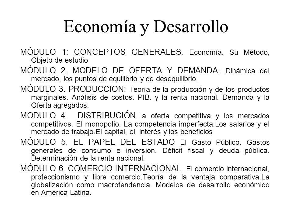 Economía y Desarrollo MÓDULO 1: CONCEPTOS GENERALES. Economía. Su Método, Objeto de estudio MÓDULO 2. MODELO DE OFERTA Y DEMANDA: Dinámica del mercado
