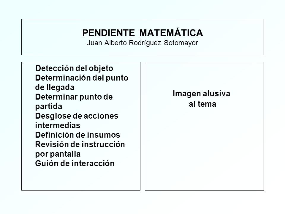 PENDIENTE MATEMÁTICA Juan Alberto Rodríguez Sotomayor Detección del objeto Determinación del punto de llegada Determinar punto de partida Desglose de acciones intermedias Definición de insumos Revisión de instrucción por pantalla Guión de interacción Imagen alusiva al tema