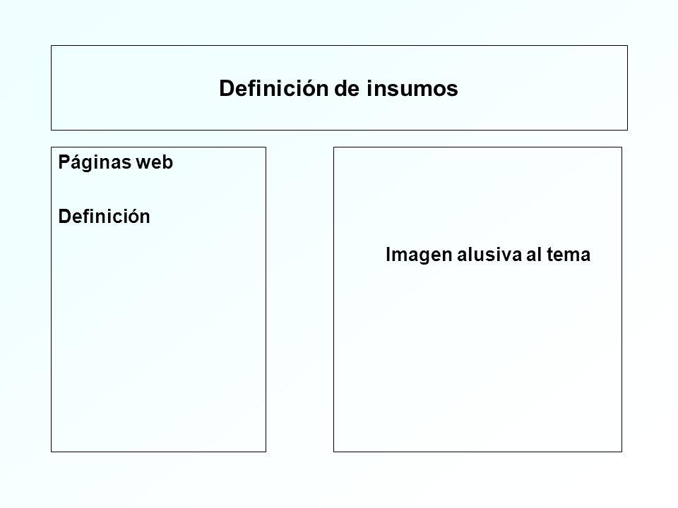 Definición de insumos Páginas web Definición Imagen alusiva al tema