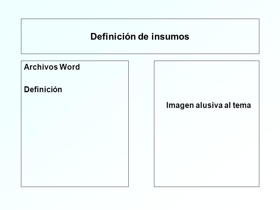 Definición de insumos Archivos ppt Definición Imagen alusiva al tema