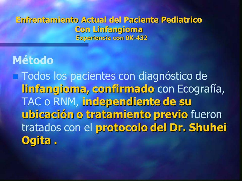 Enfrentamiento Actual del Paciente Pediatrico Con Linfangioma Experiencia con 0K-432 Método n linfangioma, confirmado independiente de su ubicación o