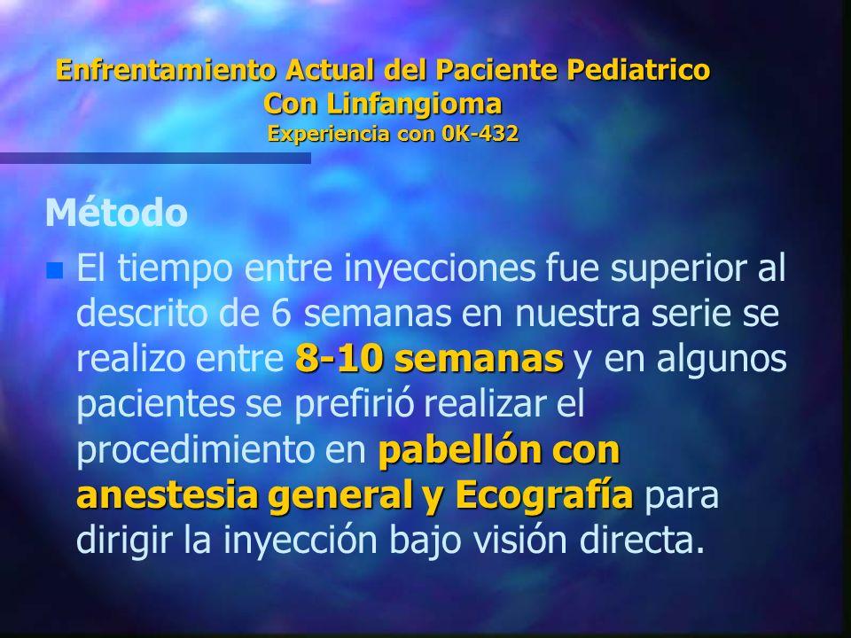 Enfrentamiento Actual del Paciente Pediatrico Con Linfangioma Experiencia con 0K-432 Método n 8-10 semanas pabellón con anestesia general y Ecografía