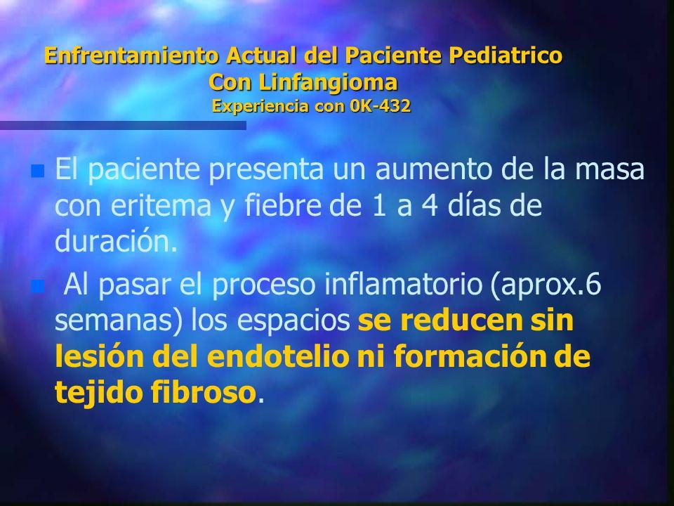 Enfrentamiento Actual del Paciente Pediatrico Con Linfangioma Experiencia con 0K-432 n n El paciente presenta un aumento de la masa con eritema y fieb