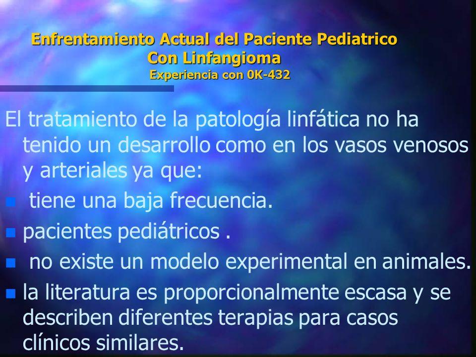 Enfrentamiento Actual del Paciente Pediatrico Con Linfangioma Experiencia con 0K-432 El tratamiento de la patología linfática no ha tenido un desarrol