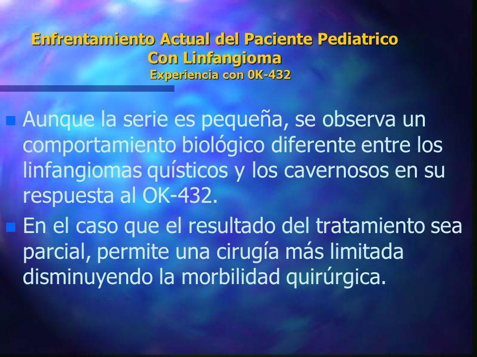 Enfrentamiento Actual del Paciente Pediatrico Con Linfangioma Experiencia con 0K-432 n n Aunque la serie es pequeña, se observa un comportamiento biol