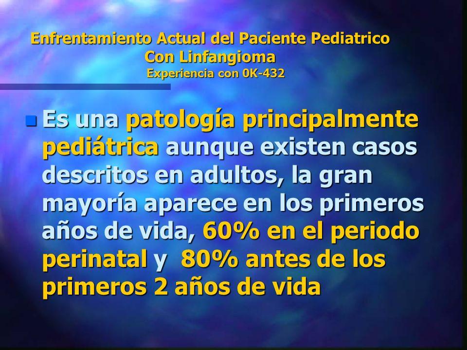 Enfrentamiento Actual del Paciente Pediatrico Con Linfangioma Experiencia con 0K-432 n Es una patología principalmente pediátrica aunque existen casos