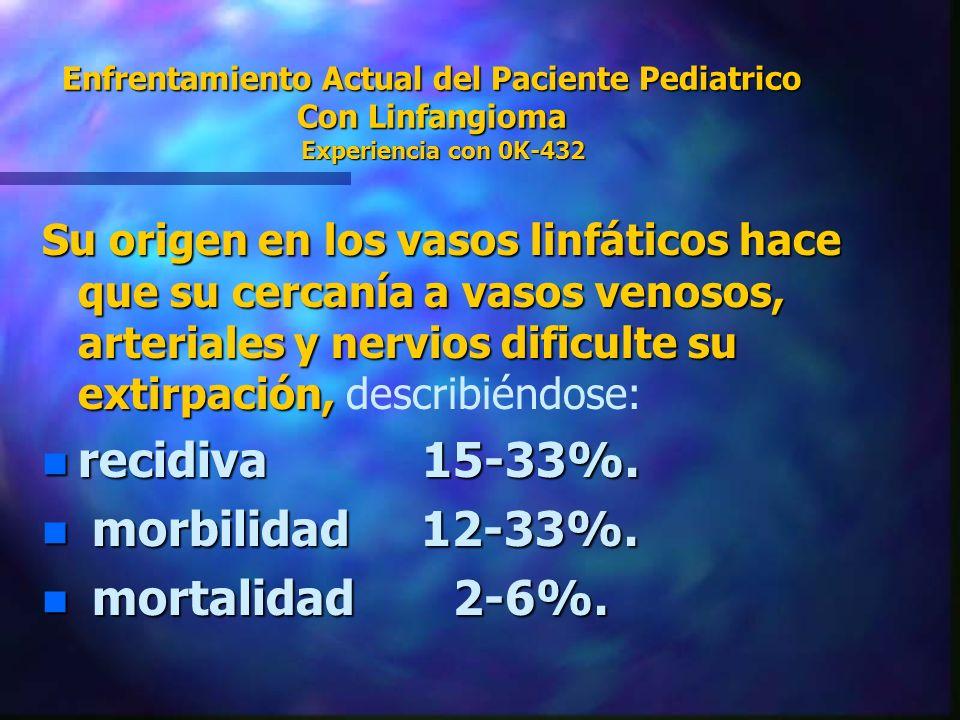 Enfrentamiento Actual del Paciente Pediatrico Con Linfangioma Experiencia con 0K-432 Su origen en los vasos linfáticos hace que su cercanía a vasos ve
