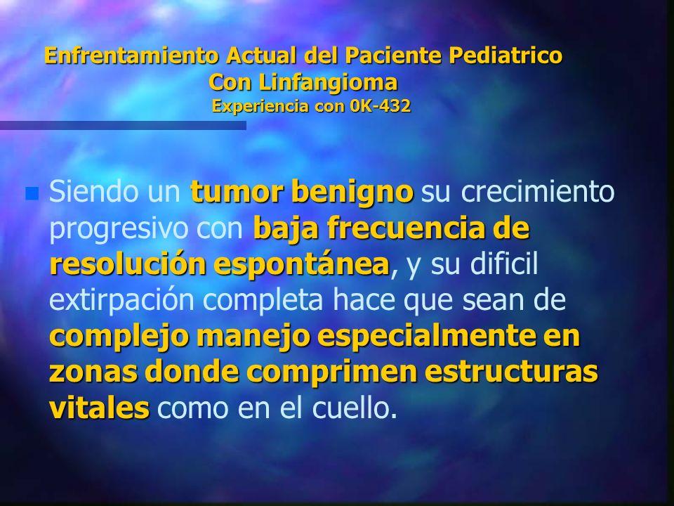 Enfrentamiento Actual del Paciente Pediatrico Con Linfangioma Experiencia con 0K-432 n tumor benigno baja frecuencia de resolución espontánea complejo