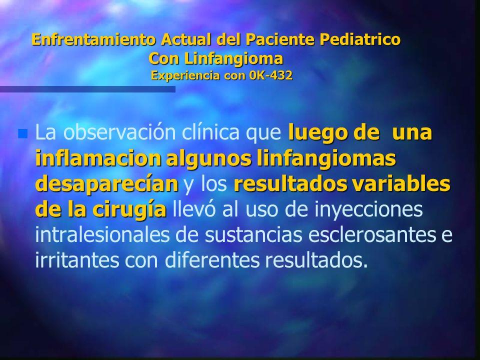 Enfrentamiento Actual del Paciente Pediatrico Con Linfangioma Experiencia con 0K-432 n luego de una inflamacion algunos linfangiomas desaparecíanresul
