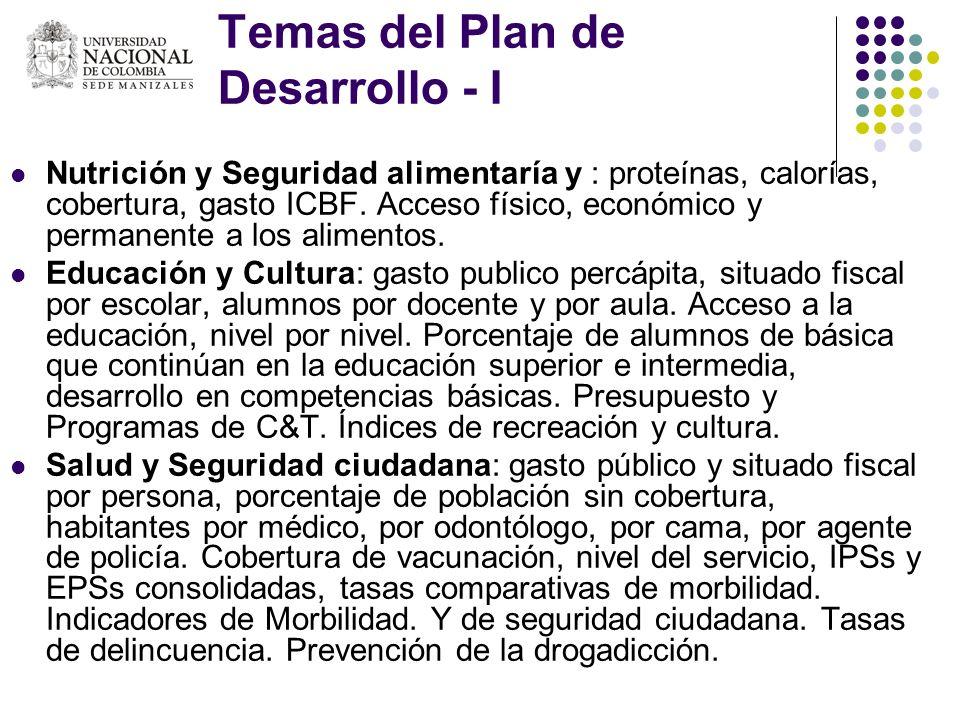 Temas del Plan de Desarrollo - I Nutrición y Seguridad alimentaría y : proteínas, calorías, cobertura, gasto ICBF. Acceso físico, económico y permanen
