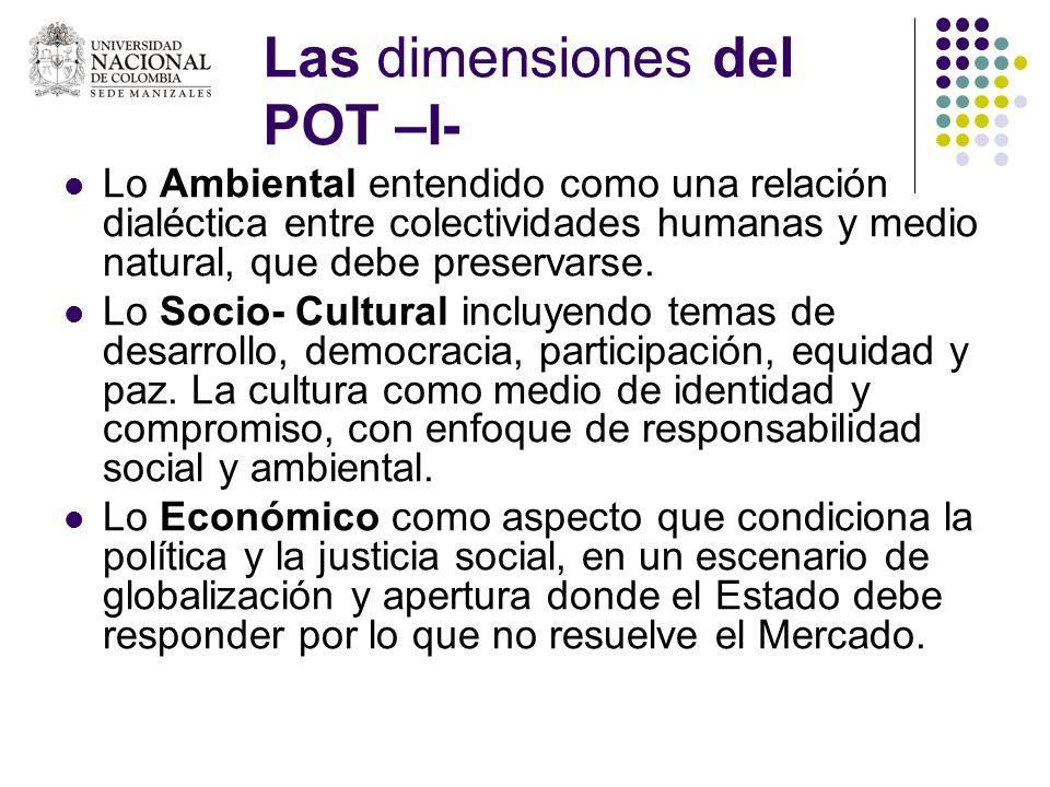 Las dimensiones del POT –I- Lo Ambiental entendido como una relación dialéctica entre colectividades humanas y medio natural, que debe preservarse. Lo