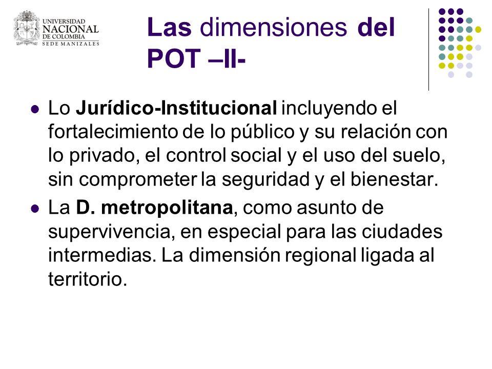 Las dimensiones del POT –II- Lo Jurídico-Institucional incluyendo el fortalecimiento de lo público y su relación con lo privado, el control social y e