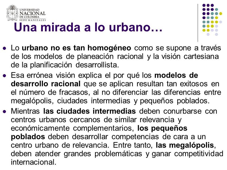 Una mirada a lo urbano… Lo urbano no es tan homogéneo como se supone a través de los modelos de planeación racional y la visión cartesiana de la plani